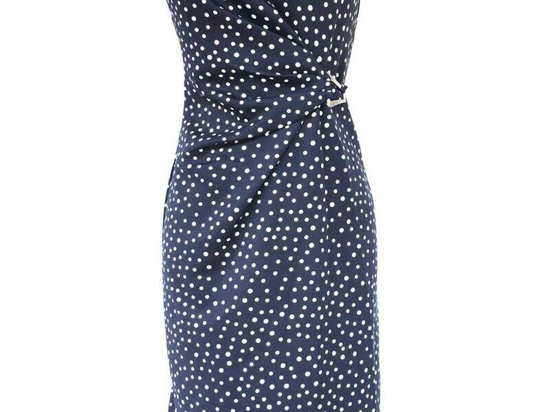Vestido Largo Azul con puntos Blancos