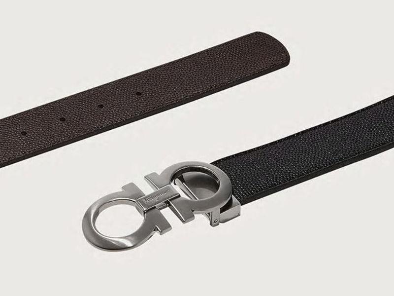 Cinturón Reversible con Gancini - Negro/Choco