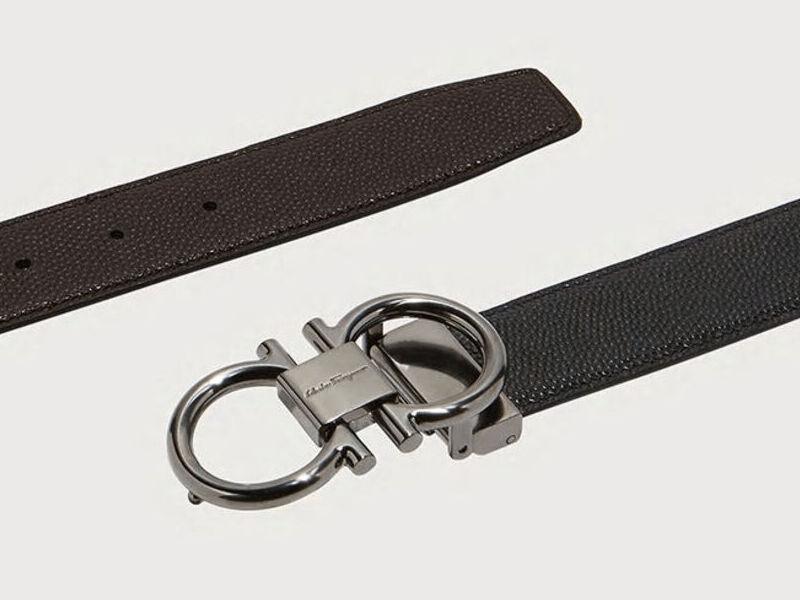 Cinturón Gancini y Reversible - Negro/Choco