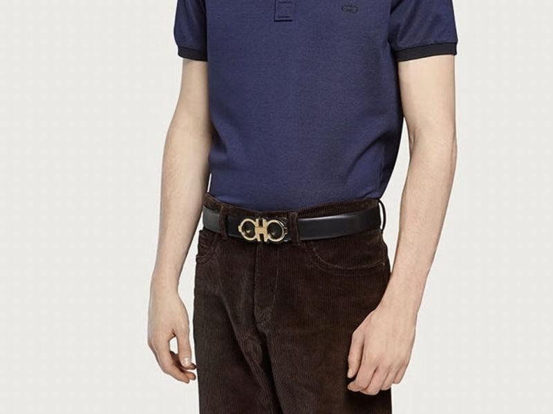 Cinturon ajustable Gancini --- Negro