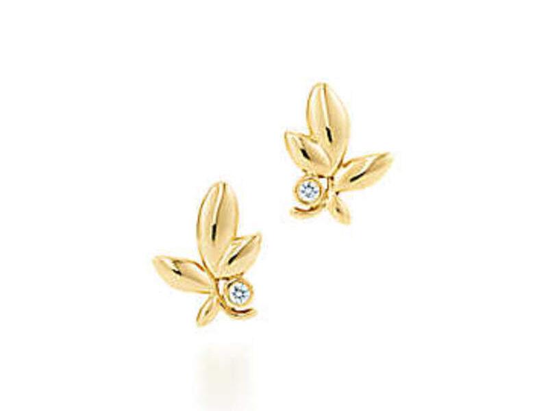 Aretes Paloma Olive leaf Oro 18k c/ diamante