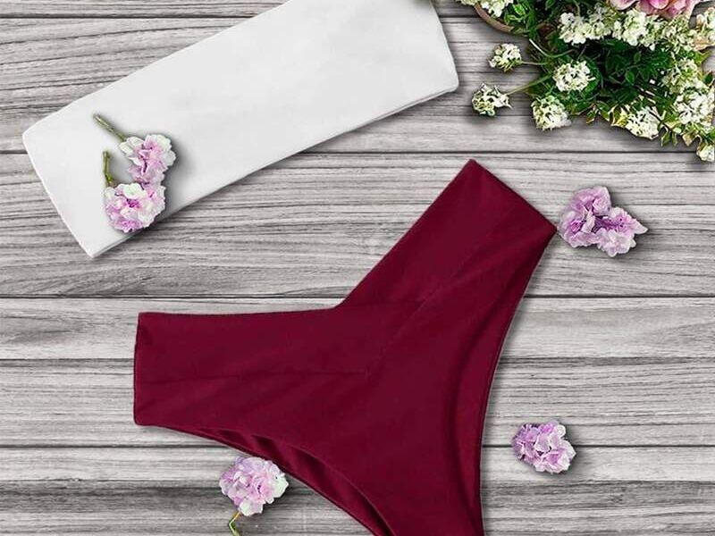 Bikini combinación de rojo y blanco