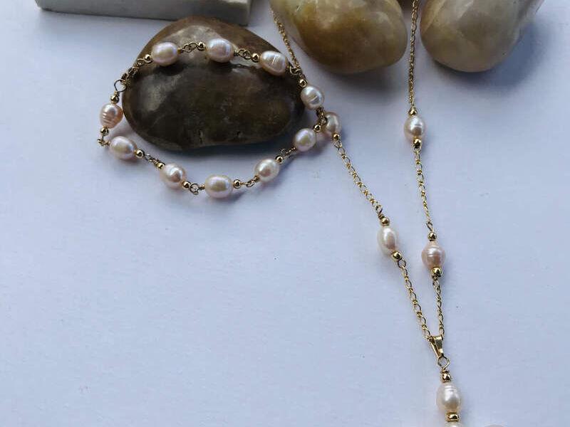 Collar de perlas y cadena de oro Goldfilled